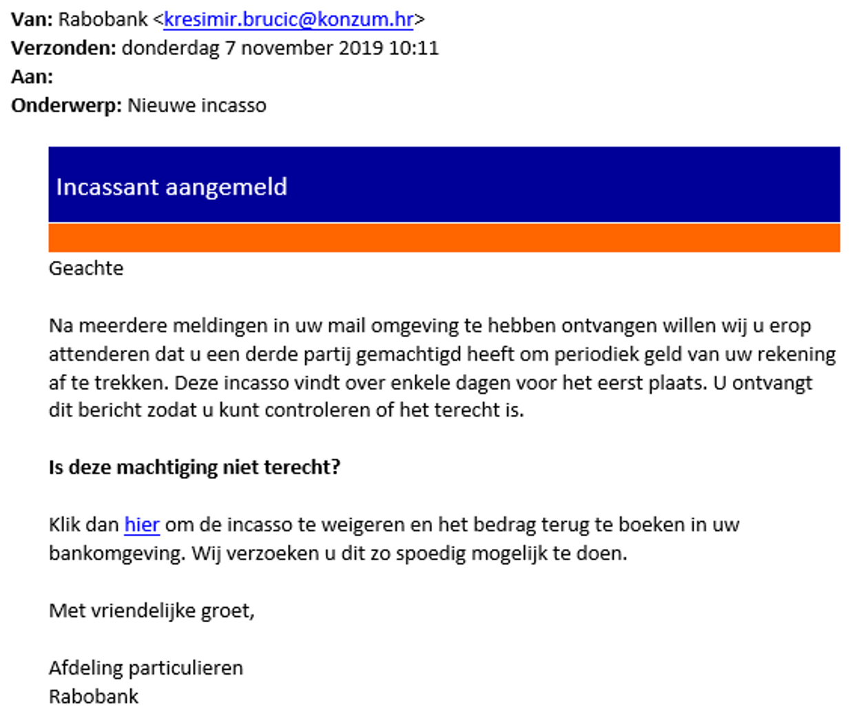 rabobank phishing nieuwe incasso