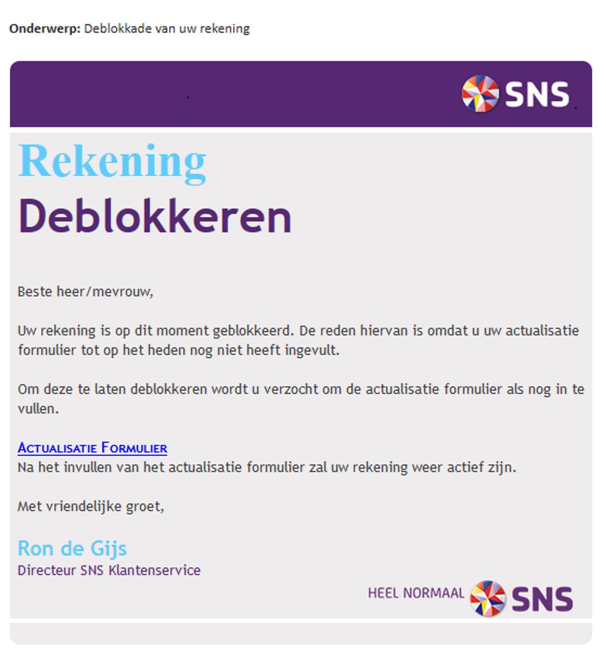 SNS rekening deblokkeren phishing