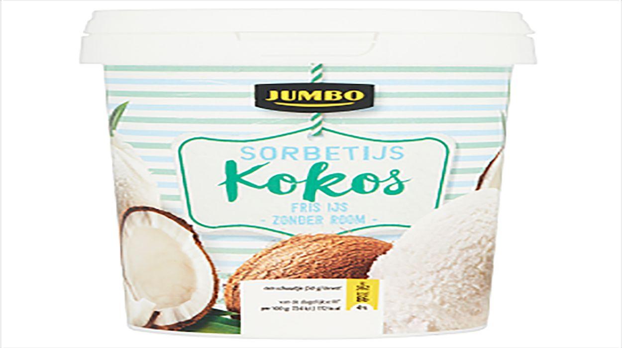 Afbeelding van Productwaarschuwing: Jumbo Kokos Sorbetijs bevat melk