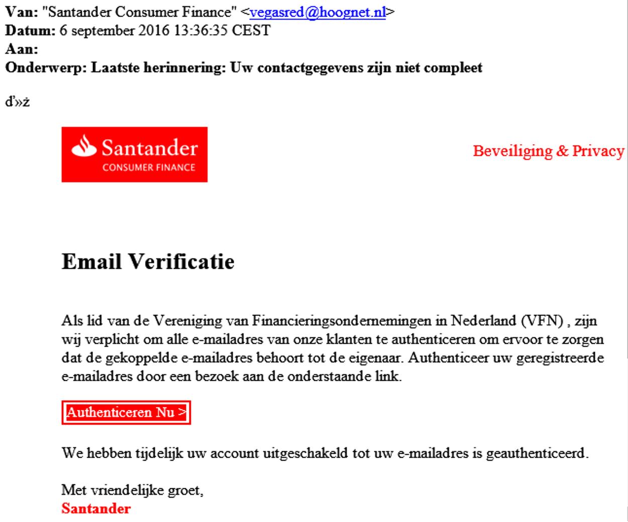 santander phishing