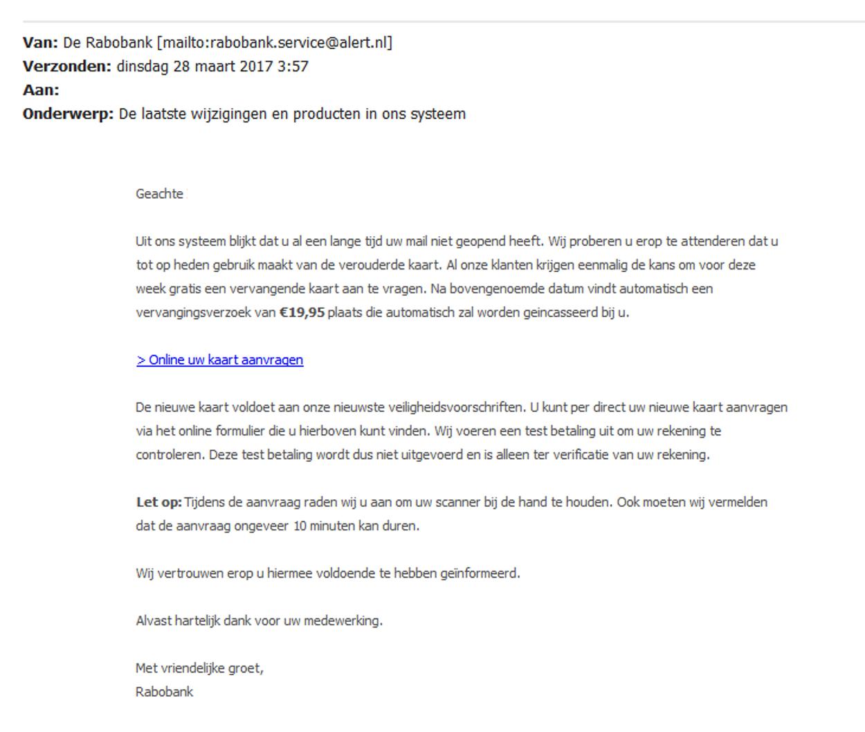 wijzigingen Rabobank phishing