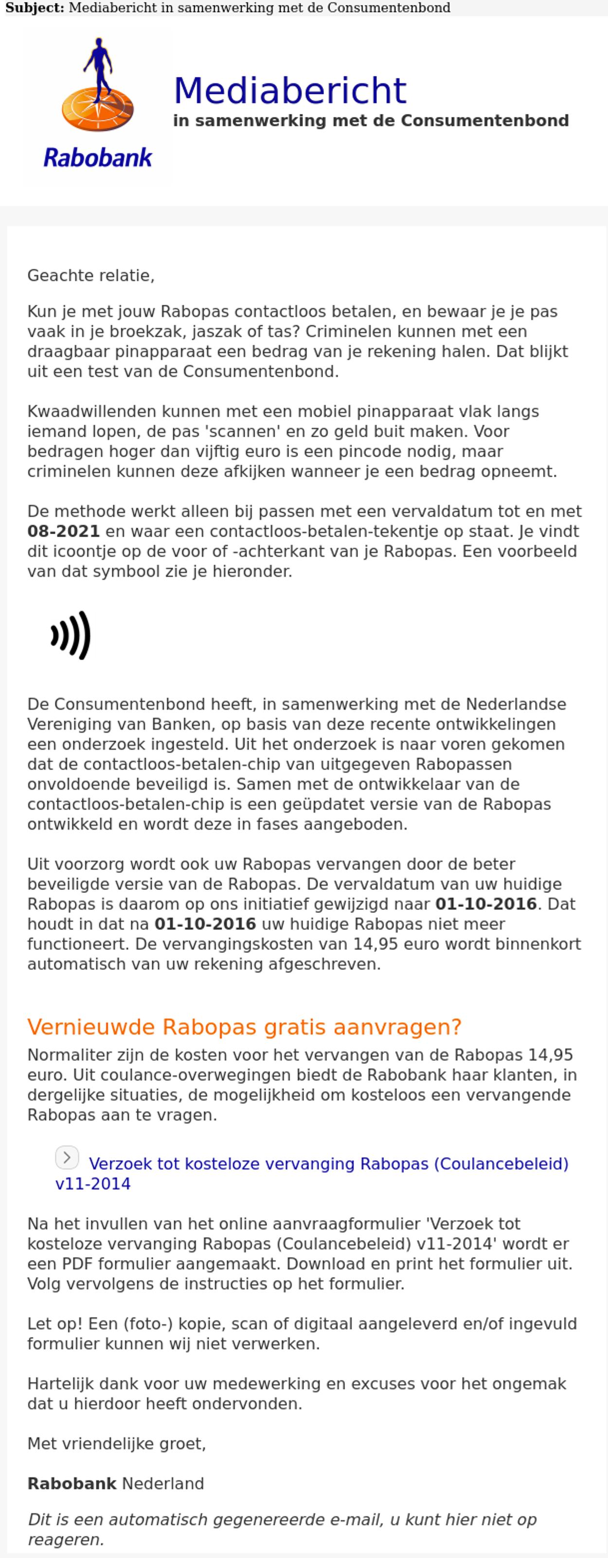 Nepmail Rabobank Consumentenbond