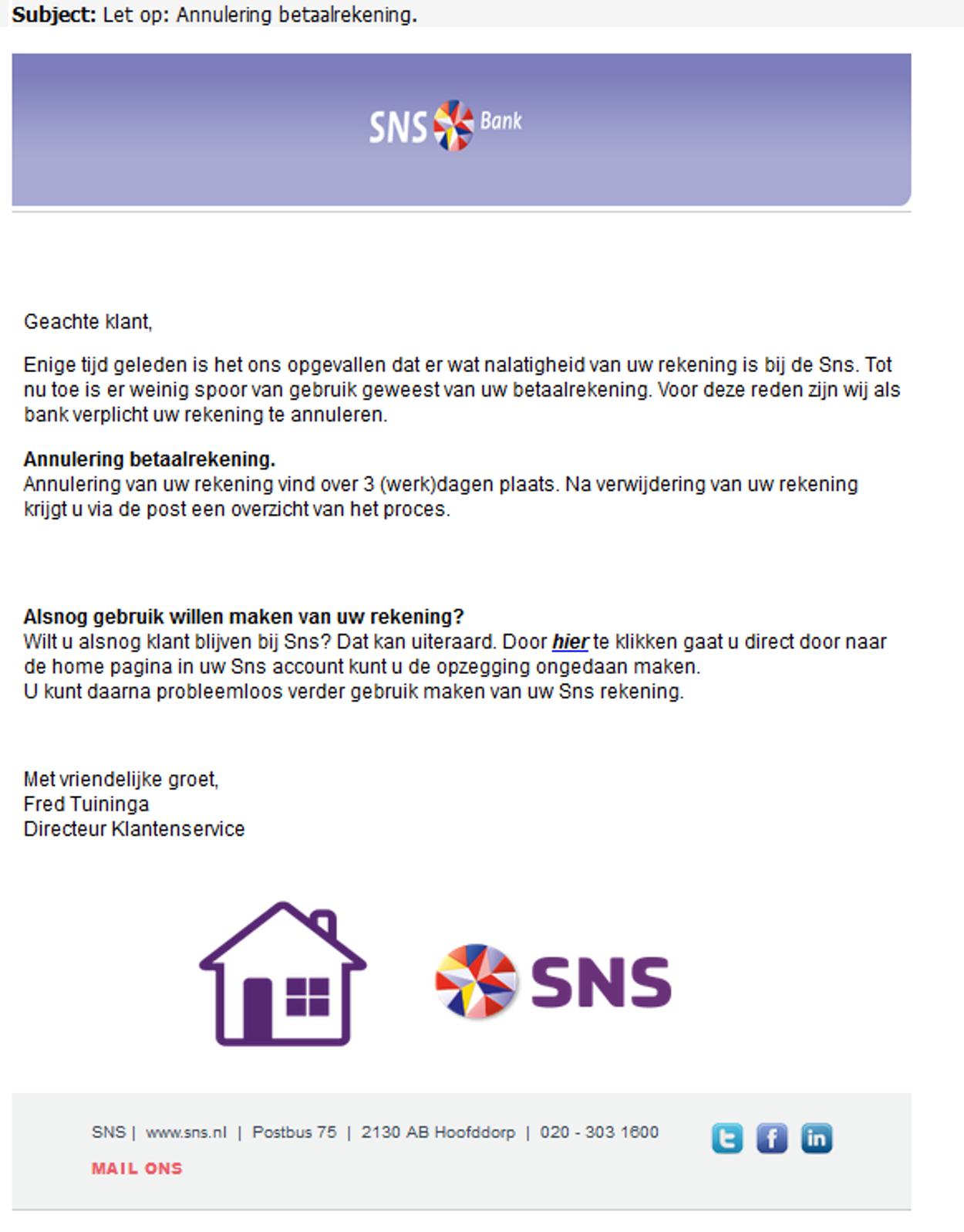 Annulering SNS rekening phishing