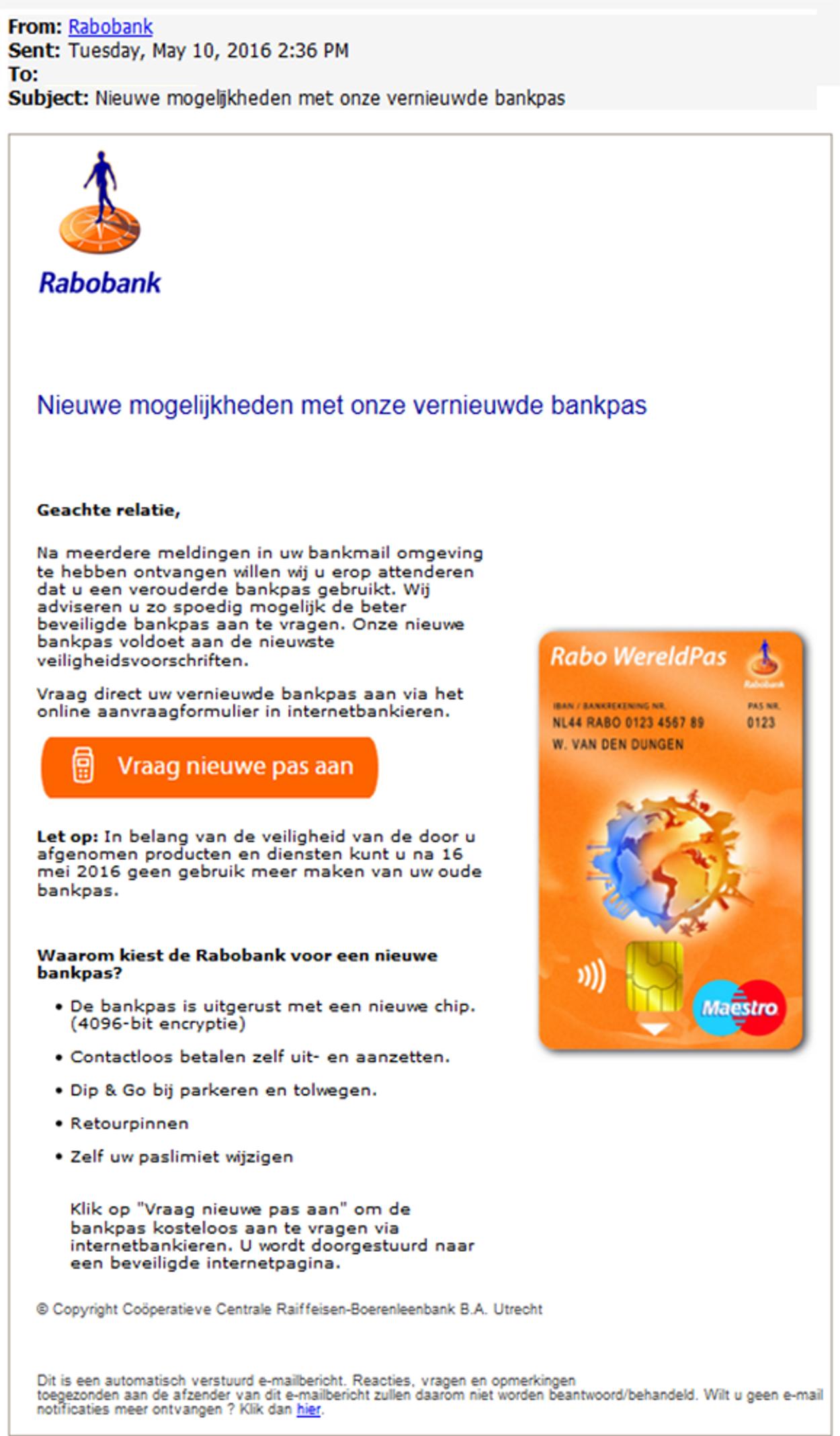 Rabo Nieuwe mogelijkheden met onze vernieuwde bankpas phishing